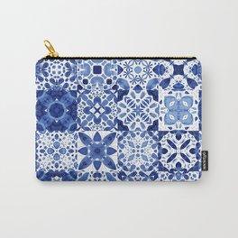 Indigo Watercolor Tiles Carry-All Pouch
