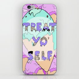 TREAT YO' SELF ice-cream print  iPhone Skin