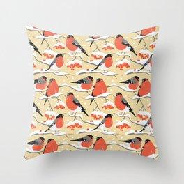 Bullfinches on rowan branches 2 Throw Pillow