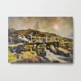 Mountain Stream Snowdonia Metal Print