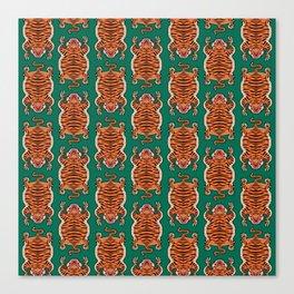 TIBETAN TIGER - ALL OVER (green) Canvas Print