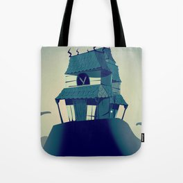 House on haunted hill vintage cartoon movie poster Tote Bag