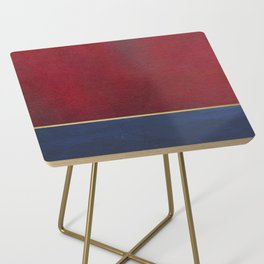 Deep Blue, Red And Gold Abstract Painting Side Table