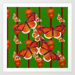 GREEN  DECORATED MONARCHS & POPPY FLOWERS ART Art Print