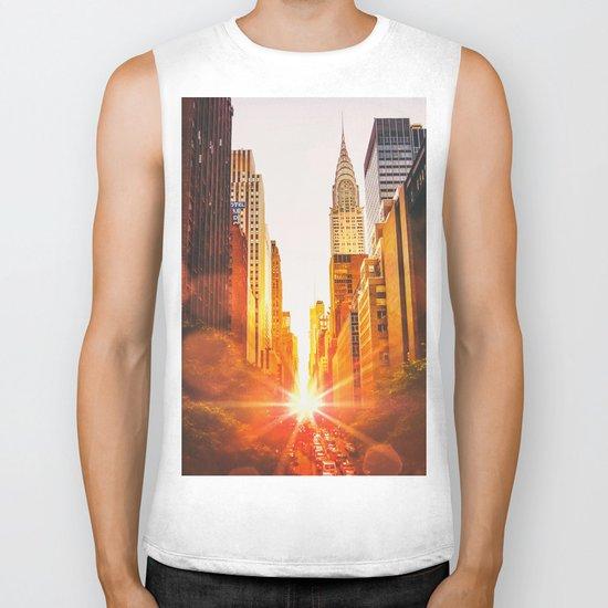 NYC Skyline Sunset Biker Tank