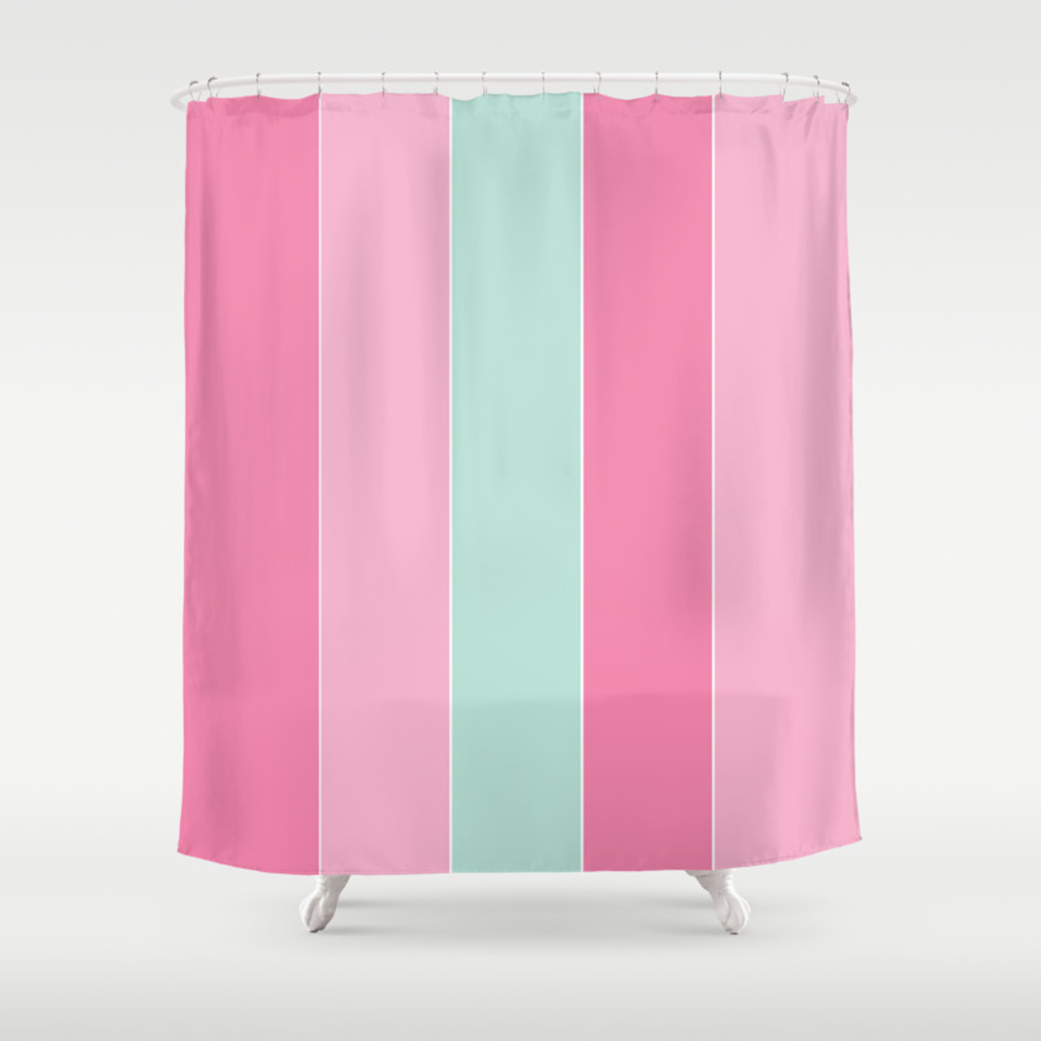 Punchy Pastels Colorful Stripes Shower Curtain