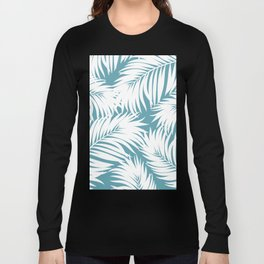 Palm Tree Fronds White on Soft Blue Hawaii Tropical Décor Long Sleeve T-shirt