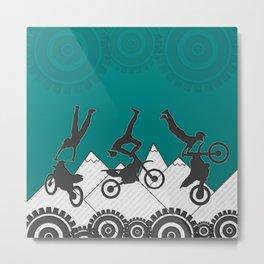 Teal Motocross Mountain Stunt Rider Metal Print