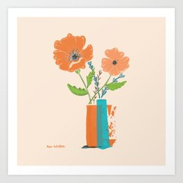 California Poppies in orange and teal vases Art Print