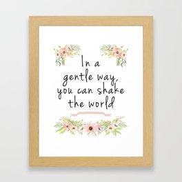 Shake the world Framed Art Print
