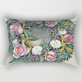 Rose Ring in pink, white, yellow and green Rectangular Pillow