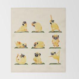 Pug Yoga Watercolor Throw Blanket