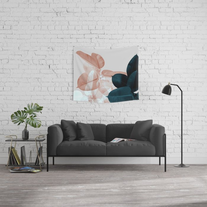 Blush & Blue Leaves Wall Tapestry