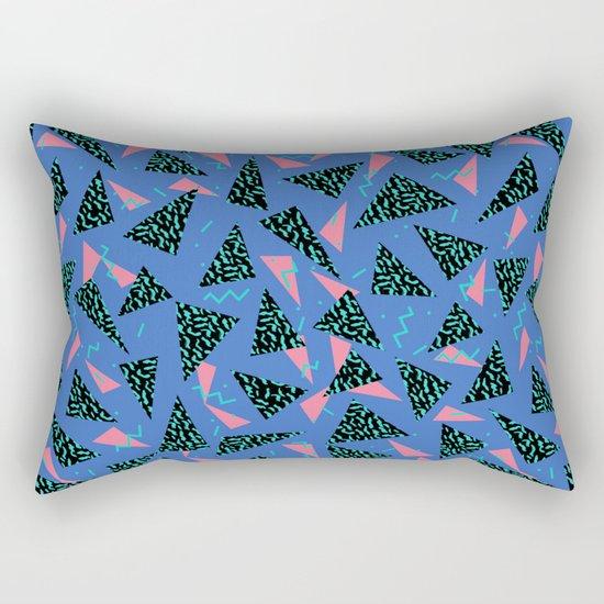 Tina - 80s Triangle print, bright tri blue memphis design, memphis triangle Rectangular Pillow
