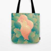 minaj Tote Bags featuring I'm Peachy by Ilia Isales