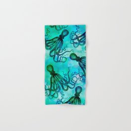 Octopus blue green mixed media underwater artwork Hand & Bath Towel