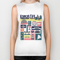 kansas city Biker Tanks featuring Kansas City by cwassmer
