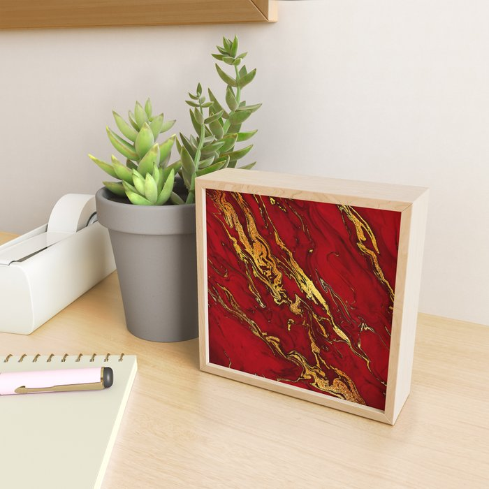 Chic Elegant Fire Red Ombre Glitter Marble Framed Mini Art Print