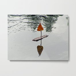 Leaf Sail Boat Metal Print