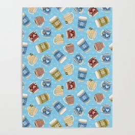 Cozy Mugs - Bg Blue Wood Poster