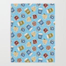 Cozy Mugs - Bg Blue Wood Poster