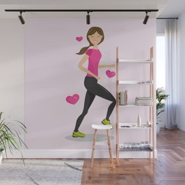 Cute Girl Who Loves To Run Cartoon Illustration Wall Mural