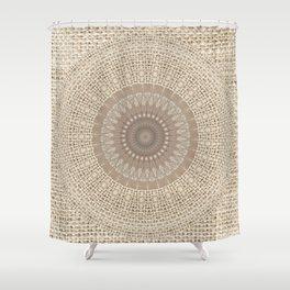 Unique Texture Taupe Burlap Mandala Design Shower Curtain
