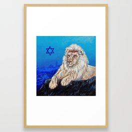 Lion of Judah watches over Jerusalem Framed Art Print