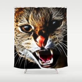 Scared cat painting Shower Curtain