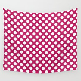 White and raspberry polka dots Wall Tapestry
