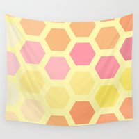 honeycomb Wall Tapestries featuring Honeycomb by MisfitIsle