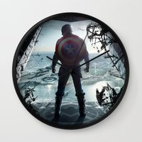 steve rogers Wall Clocks featuring Steve Rogers 002 by TheTreasure