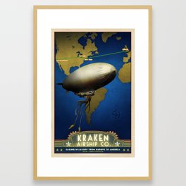 Steampunk Airship: Laurentian Homestead Retro Travel Poster Art Print Framed Art Print
