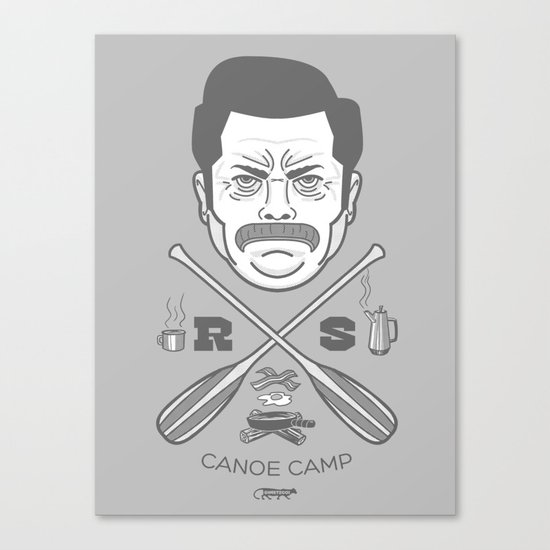 Ron Swanson Canoe Camp (clean gray variant) Canvas Print