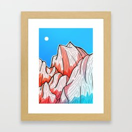The red and blue tipped mountains Framed Art Print
