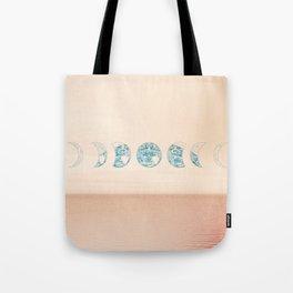 Boho Peach Ocean Moon Phase Tote Bag