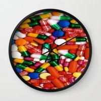pills Wall Clocks featuring PILLS,PILLS,PILLS by Asano Kitamura