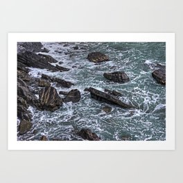 High Tide and Rock Formation Art Print