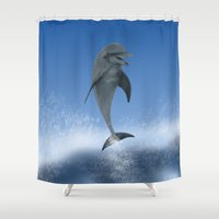 the dude Shower Curtains featuring Surfin' Dude by Petellgra