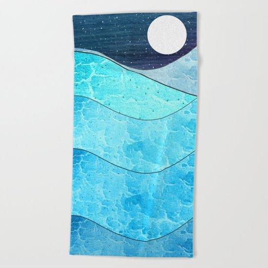 Ice Blue Waves Beach Towel