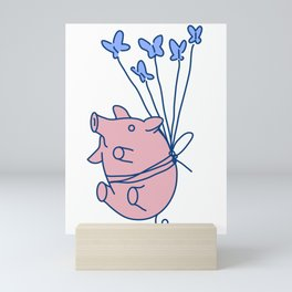 pig with balloons Mini Art Print