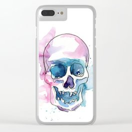 Abstract Skull Watercolor Clear iPhone Case