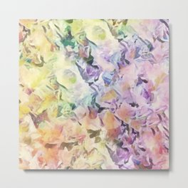 Vintage Soft Pastel Floral Abstract Metal Print