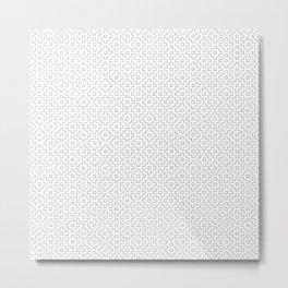 Persimmon Hitomezashi Sashiko - Black on White Metal Print