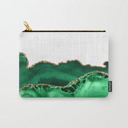 Emerald Green Malachite Agate gold Foil Carry-All Pouch