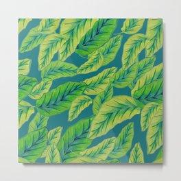 Banana Leaves - Teal Metal Print
