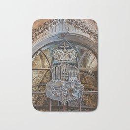 Sedlec Ossuary Coat of Arms Photo Art Print, Bone Church Bath Mat
