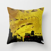 airplanes Throw Pillows featuring airplanes and cigarettes by Trevor Bittinger