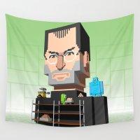 steve jobs Wall Tapestries featuring Steve Jobs 3D pixel portrait by Metin Seven