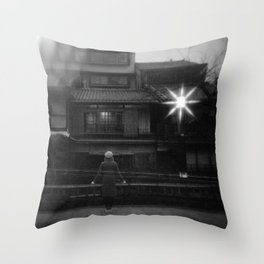 Girl in the Streetlights of Gion, Kyoto - Black and White Double Exposure Film Photograph Throw Pillow